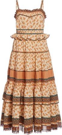 Cecilie Fringed Floral-Print Cotton Midi Dress