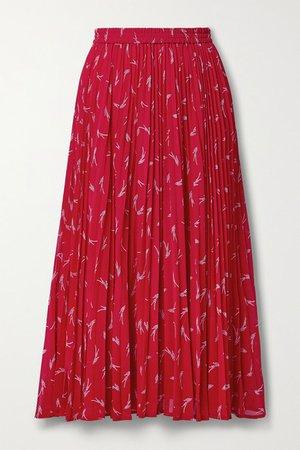 Pleated Printed Crepe Midi Skirt - Red