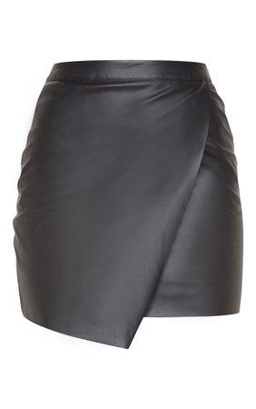 Luisa Black Faux Leather Wrap Mini Skirt | Skirts | | PrettyLittleThing USA