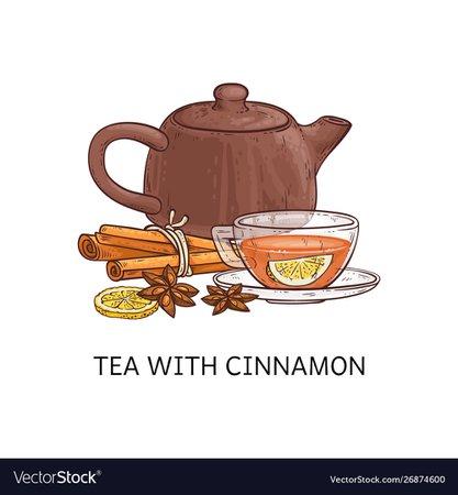 Spicy tea type tea with cinnamon sketch Royalty Free Vector