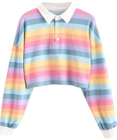 Striped Collared Long Sleeve Crop Top Pastel Rainbow