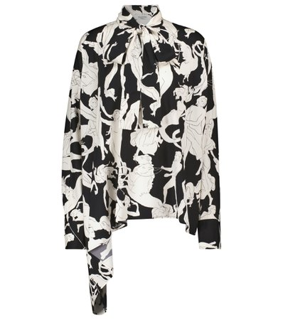 Valentino, Printed stretch-silk tie-neck blouse