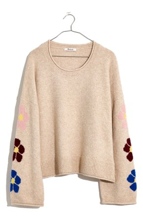 Madewell Coziest Textured Yarn Belmore Floral Sleeve Pullover Sweater | Nordstrom