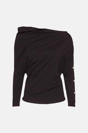 Rivet Sleeve Slouchy Knit Jumper | Karen Millen