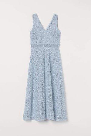 Lace V-neck Dress - Blue