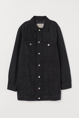 Long Denim Jacket - Black - Ladies | H&M CA