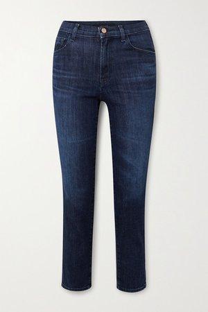 Alma Cropped High-rise Straight-leg Jeans - Dark denim