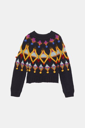 MULTICOLORED EMBROIDERED KNIT SWEATER - STARTING FROM 70% OFF-WOMAN-SALE | ZARA United States blue