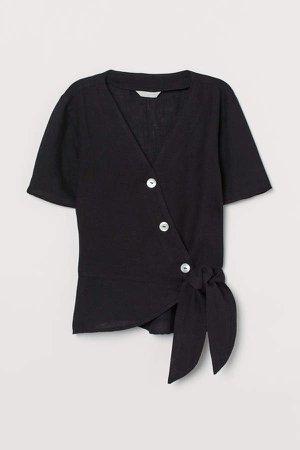 Linen Wrapover Blouse - Black