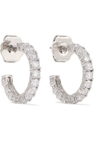 Kenneth Jay Lane | Rhodium-plated cubic zirconia hoop earrings | NET-A-PORTER.COM