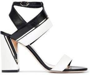 Eva Embellished Two-tone Leather Sandals