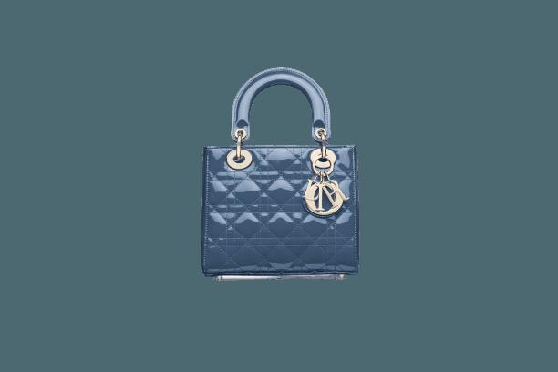 MY ABCDIOR LADY DIOR BAG Denim Blue Cannage Patent Calfskin
