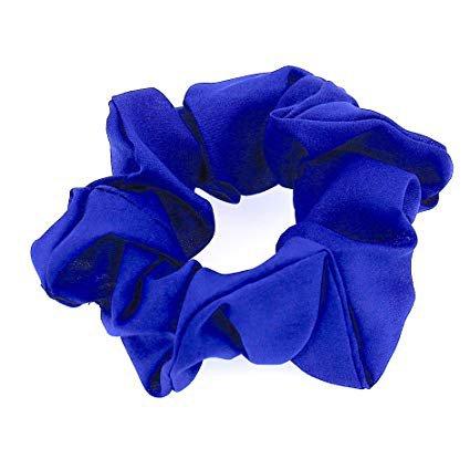 Hair Accessories Women Girls Yellow Black Pink White Chiffon Simple Elastic Scrunchies (Blue) : Beauty
