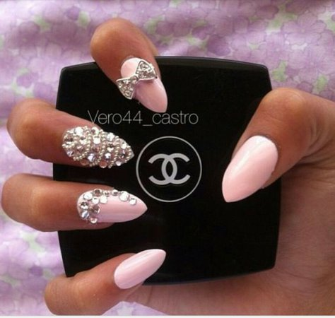 Baby Pink Nails With Diamonds