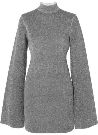 Alula Stretch-lurex Turtleneck Mini Dress - Silver