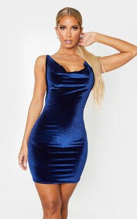 Navy Velvet Cowl Neck Bodycon Dress | PrettyLittleThing