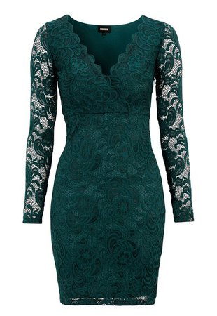 BUBBLEROOM Martha lace dress Dark green - Bubbleroom