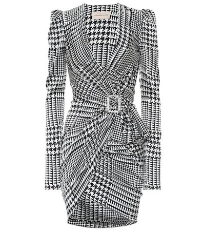 Houndstooth stretch silk minidress