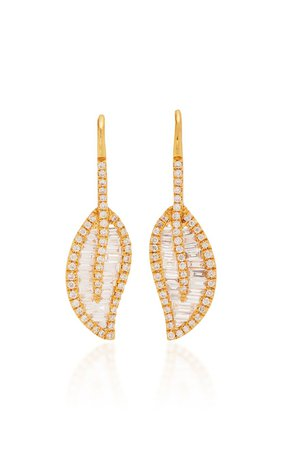 Leaf 18K Gold Diamond Earrings by Anita Ko | Moda Operandi