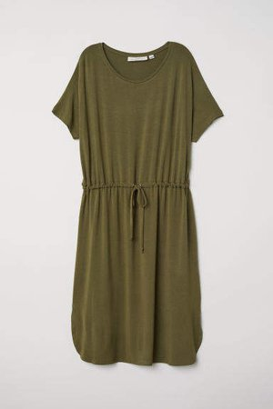 Jersey Dress with Drawstring - Green
