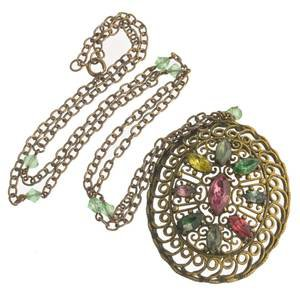 Edwardian brass filigree pendant with multi colored glass stones. – Earthly Adornments