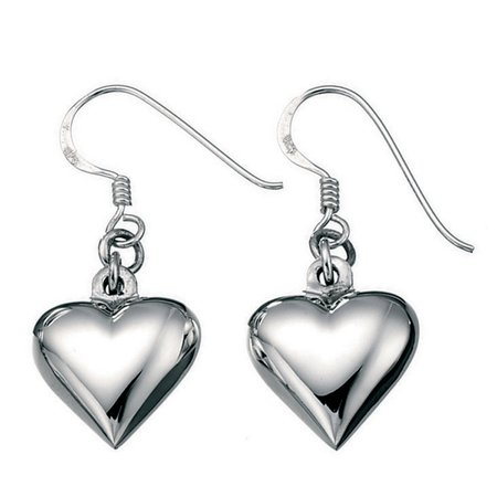 Silver Puffed Heart Drop Earrings
