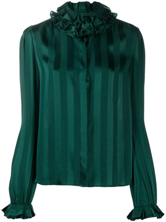 Saint Laurent, ruffled-neck Silk Blouse