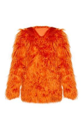 Rust Midi Shaggy Faux Fur   Coats & Jackets   PrettyLittleThing