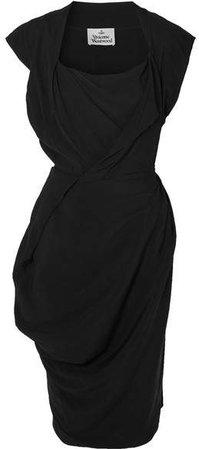 Draped Crepe De Chine Dress - Black