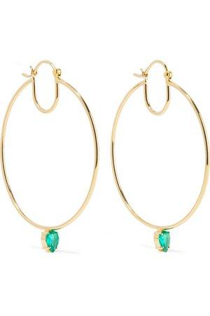 Jemma Wynne | 18-karat gold emerald hoop earrings | NET-A-PORTER.COM