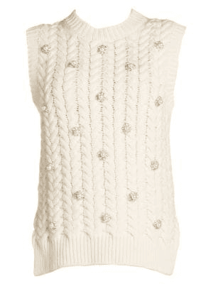 Moncler Genius 4 Moncler Simone Rocha Sleeveless Embellished Cable Knit Sweater In White | ModeSens