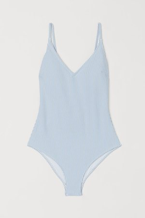 Padded-cup Swimsuit - Blue