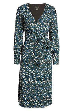 Halogen® Long Sleeve Wrap Midi Dress (Regular & Petite) navy