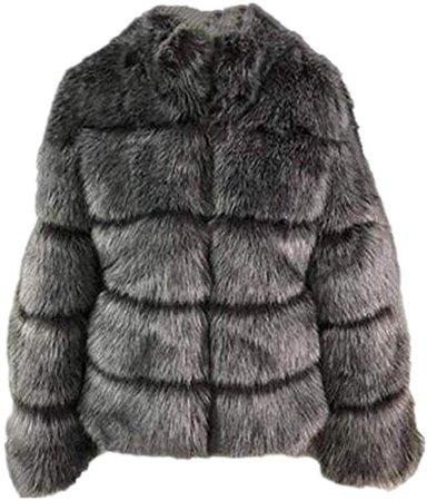 Lisa Colly Women Winter Furs Coat Jacket Luxury Faux Fox Fur Coat Slim Long Sleeve Collar Coat Faux Fur Coat Overcoat (3XL, Black) at Amazon Women's Coats Shop
