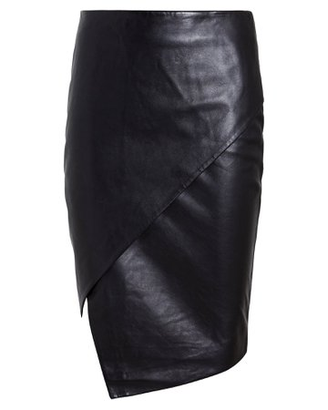 Lambskin Leather Asymmetrical Skirt