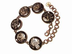 """9.5"""" Steampunk Bracelet Red Copper filled with watch parts"""