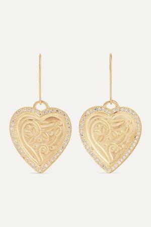 Gold Heart Beat 18 and 22-karat gold diamond earrings | Ileana Makri | NET-A-PORTER