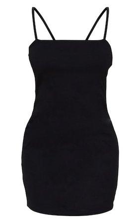 Petite Black Cotton Jersey Square Neck Mini Dress | PrettyLittleThing