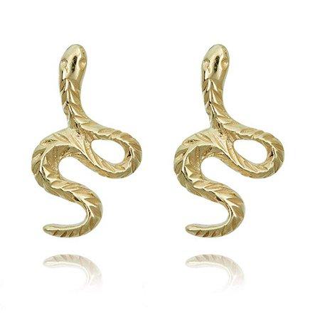 Amazon.com: 10K Yellow Gold Snake Earrings: Stud Earrings: Jewelry