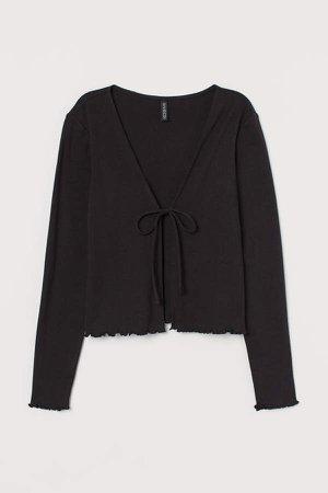 Cotton Tie-front Top - Black