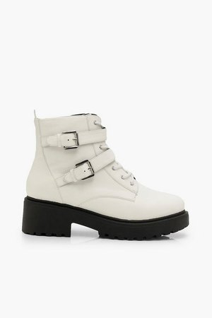 Wide Fit Lace Up Hiker Boots | Boohoo white
