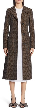 FF Logo Jacquard Canvas Trench Coat