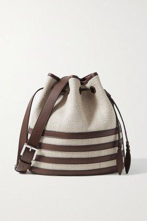 Leather-trimmed Fique Bucket Bag - Dark brown