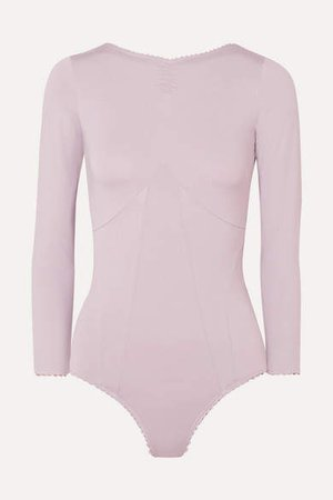Ruched Stretch-jersey Bodysuit - Lilac