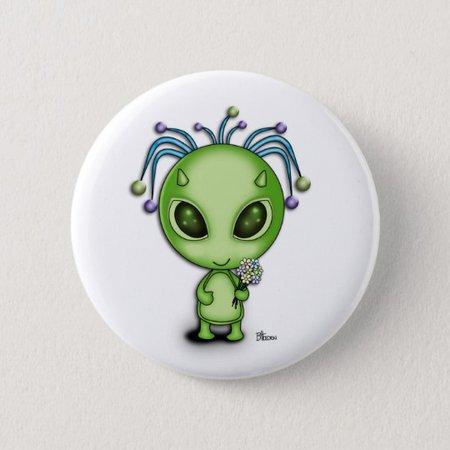 Cute Alien with Flowers 6 Cm Round Badge | Zazzle.com.au