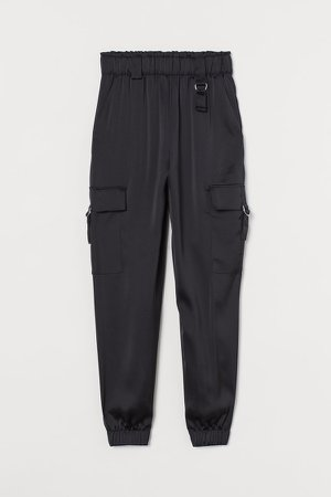 Satin Utility Pants - Black