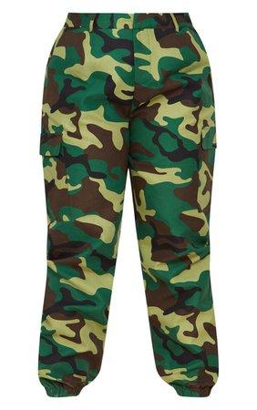 Plus Khaki Camo Print Cargo Pants | PrettyLittleThing USA