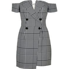 black white checked dress