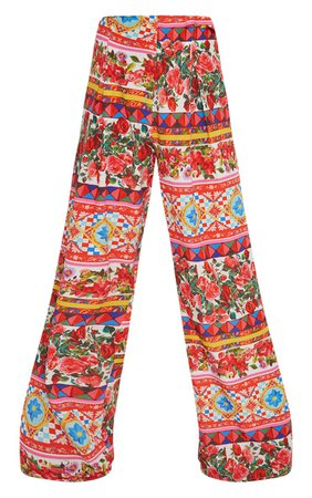 White Floral Print Wide Leg Pants | PrettyLittleThing USA