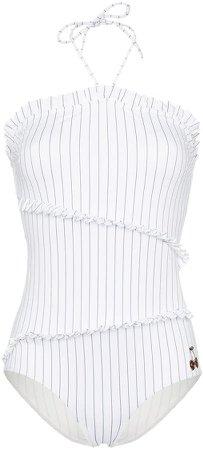 White stripe ruffle swimsuit